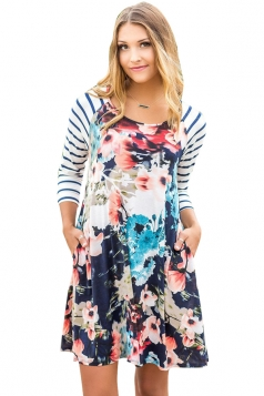 Womens Raglan Sleeve Stripe Floral Printed Shirt Dress Navy Blue