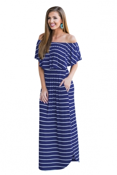 Womens Sexy Off Shoulder Stripe Maxi Dress Blue