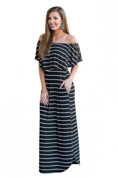 Womens Sexy Off Shoulder Stripe Maxi Dress Black