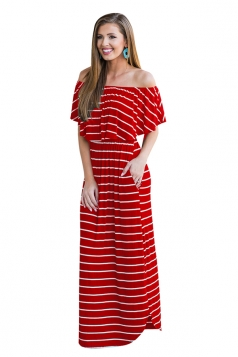 Womens Sexy Off Shoulder Stripe Maxi Dress Red