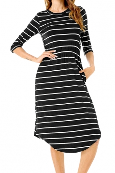 Womens Casual Half Sleeve Stripe Tunic Skater Dress Black