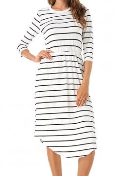 Womens Casual Half Sleeve Stripe Tunic Skater Dress White