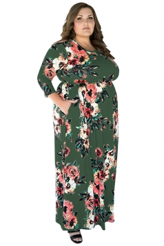 Womens Plus Size Floral Printed Tunic Long Sleeve Maxi Dress Army Green