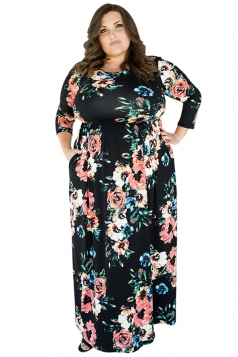 Womens Plus Size Floral Printed Tunic Long Sleeve Maxi Dress Black