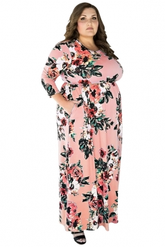 Womens Plus Size Floral Printed Tunic Long Sleeve Maxi Dress Pink
