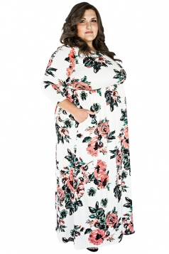 Womens Plus Size Floral Printed Tunic Long Sleeve Maxi Dress White