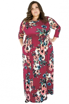 Womens Plus Size Floral Printed Tunic Long Sleeve Maxi Dress Ruby