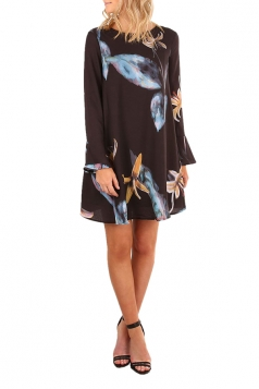 Womens Flare Long Sleeve Printed Tunic Mini Shift Dress Blue