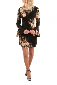Womens Flare Long Sleeve Printed Tunic Mini Shift Dress Black