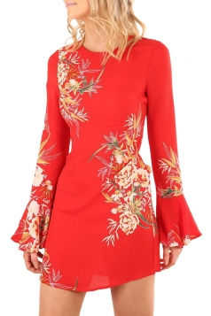 Womens Flare Long Sleeve Printed Tunic Mini Shift Dress Red