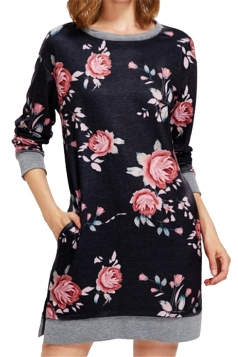 Womens Crew Neck Long Sleeve Flower Printed Shirt Dress Black