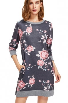 Womens Crew Neck Long Sleeve Flower Printed Shirt Dress Dark Gray