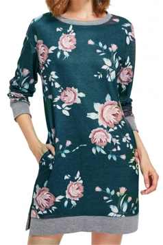 Womens Crew Neck Long Sleeve Flower Printed Shirt Dress Green