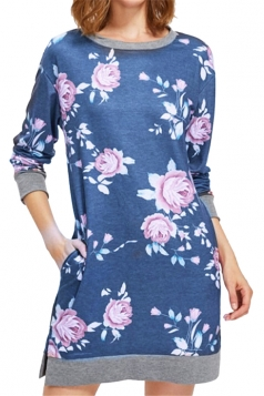 Womens Crew Neck Long Sleeve Flower Printed Shirt Dress Light Blue