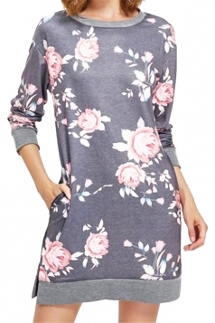 Womens Crew Neck Long Sleeve Flower Printed Shirt Dress Light Gray