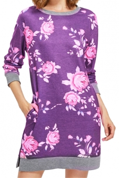 Womens Crew Neck Long Sleeve Flower Printed Shirt Dress Purple