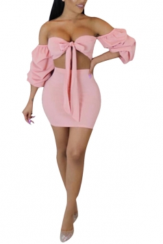 Sexy Off The Shoulder Bow Tie Two Piece Club Dress Pink