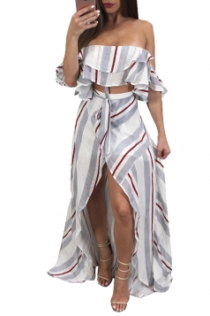 Sexy Striped Off Shoulder High Low Maxi Dress Two Piece Set Light Gray