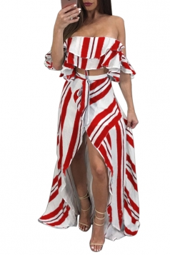 Sexy Striped Off Shoulder High Low Maxi Dress Two Piece Set Red