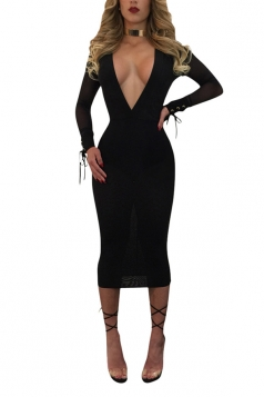 Sexy Deep V Neck Mesh See Through Club Dress Black