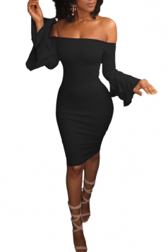 Sexy Bell Sleeve Off Shoulder Bodycon Club Dress Black