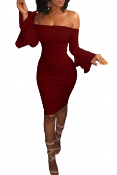 Sexy Bell Sleeve Off Shoulder Bodycon Club Dress Wine Red