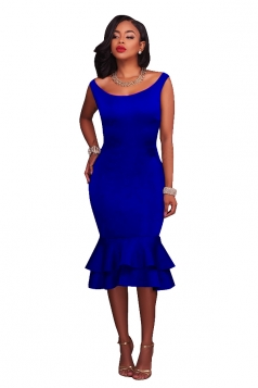 Women Elegant Tank Fishtail Double Layer Ruffled Bodycon Dress Blue