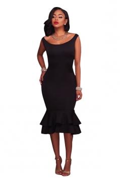 Women Elegant Tank Fishtail Double Layer Ruffled Bodycon Dress Black