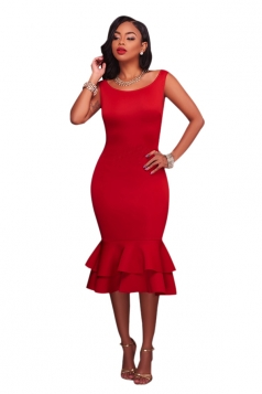 Women Elegant Tank Fishtail Double Layer Ruffled Bodycon Dress Red