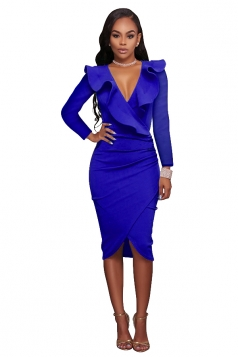 Women Sexy Ruffled Deep V Long Sleeve Bodycon Dress Blue