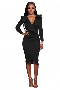 Women Sexy Ruffled Deep V Long Sleeve Bodycon Dress Black
