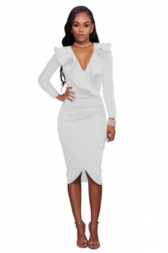 Women Sexy Ruffled Deep V Long Sleeve Bodycon Dress White