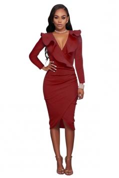 Women Sexy Ruffled Deep V Long Sleeve Bodycon Dress Ruby