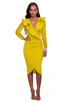 Women Sexy Ruffled Deep V Long Sleeve Bodycon Dress Yellow