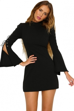 Women Eyelet Lace-Up Plain Club Wear Mini Dress Black