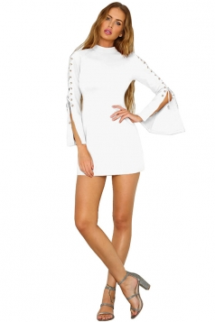 Women Eyelet Lace-Up Plain Club Wear Mini Dress White