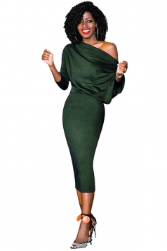 Women Elegant One Shoulder 3/4 Sleeve Bodycon Midi Dress Army Green