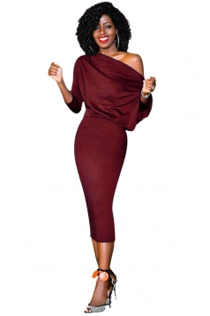 Women Elegant One Shoulder 3/4 Sleeve Bodycon Midi Dress Dark Red