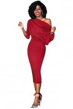 Women Elegant One Shoulder 3/4 Sleeve Bodycon Midi Dress Red