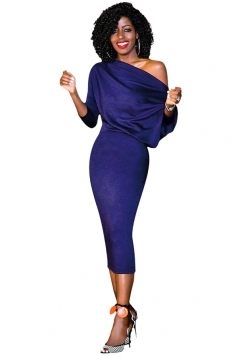 Women Elegant One Shoulder 3/4 Sleeve Bodycon Midi Dress Sapphire Blue