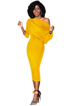 Women Elegant One Shoulder 3/4 Sleeve Bodycon Midi Dress Yellow