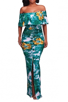 Sexy Off Shoulder Ruffled Floral Printed Slit Maxi Dress Dark Green