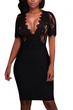 Women Sexy Deep V Lace Patchwork Clubwear Bodycon Dress Black