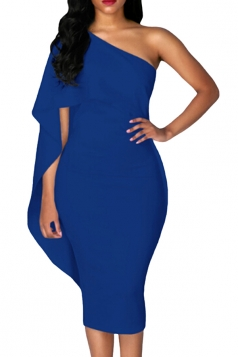 Women Cape Dress One Shoulder Sheath Evening Dress Blue