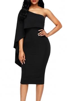 Women Cape Dress One Shoulder Sheath Evening Dress Black