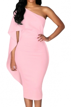 Women Cape Dress One Shoulder Sheath Evening Dress Pink