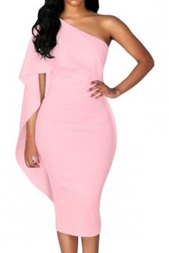 Women Cape Dress One Shoulder Sheath Evening Dress Pink