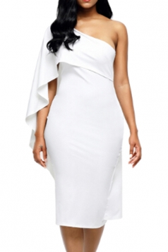 Women Cape Dress One Shoulder Sheath Evening Dress White