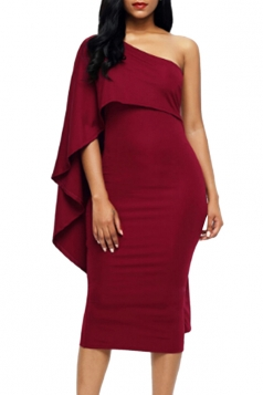 Women Cape Dress One Shoulder Sheath Evening Dress Ruby