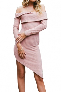 Ladies Long Sleeve Evening Party Off Shoulder Bodycon Dress Pink